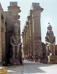 Temple of Luxor colonnade with statues of Ramses