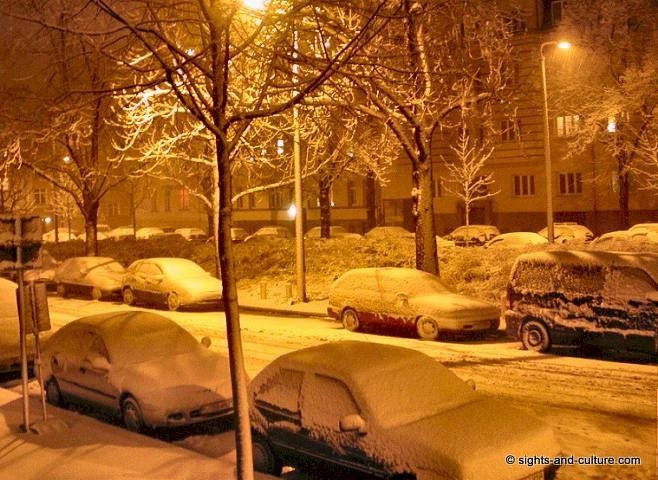 White Christmas In Germany.Germany Snowy Street By Night