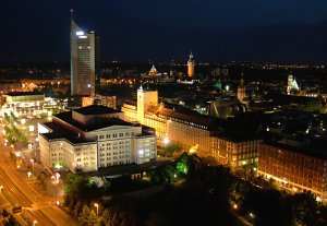 Leipzig aerial night view - opera house and city-Hochhaus